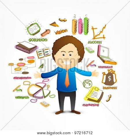 Stylish happy businessman with colorful creative business infographic elements on white background.