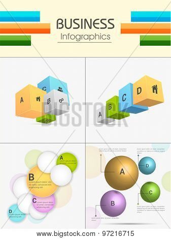 Set of colorful Business Infographic elements including 3D cubes, sphere and circles for corporate sector.