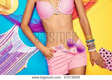 Sexy young woman body. Set stylish trendy clothes. Beach look.