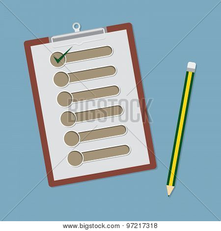 Clipboard With Check List And Pencil