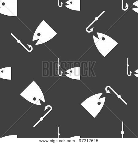 Fishing Icon Sign. Seamless Pattern On A Gray Background. Vector