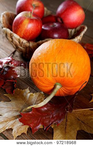 Autumn Still Life With Apples And Pumpkins With Dry Leaves