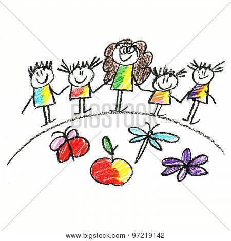 Colorful picture with happy kids