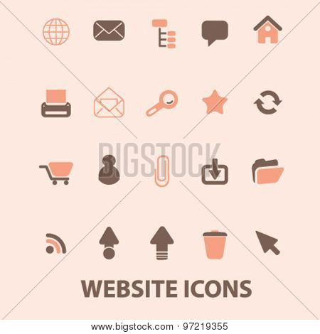 website, internet page isolated flat icons, signs, illustrations set, vector for web, application