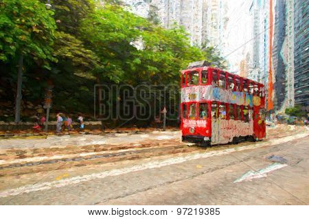 Double-decker tram on street of Hong Kong