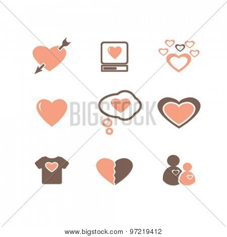 heart, love, wedding isolated flat icons, signs, illustrations set, vector for web, application