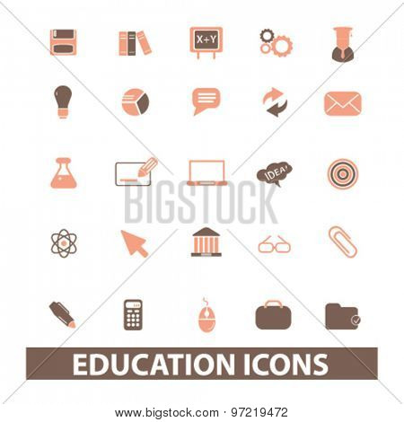 education, lesson, study isolated flat icons, signs, illustrations set, vector for web, application