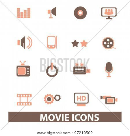 movie, cinema, video player isolated flat icons, signs, illustrations set, vector for web, application