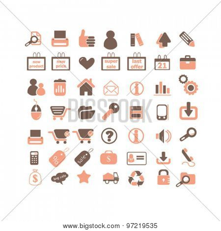 business, commerce, retail, store, shop isolated flat icons, signs, illustrations set, vector for web, application
