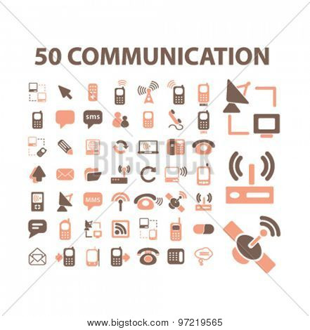 50 communication, phone, connection, technology icons set, vector