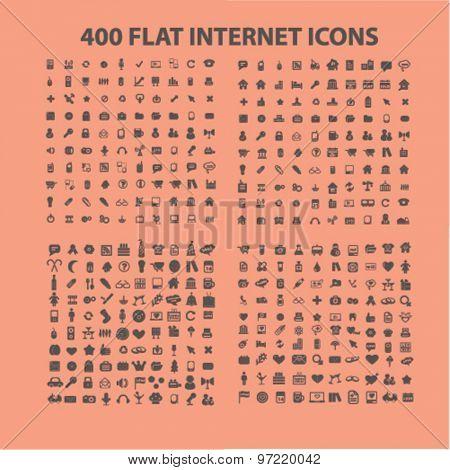400 flat website, internet, business, media, communication, travel, recreation icons set, vector