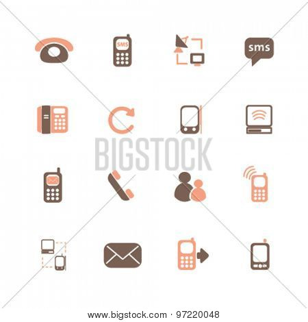 communication, phone, smartphone isolated flat icons, signs, illustrations set, vector for web, application