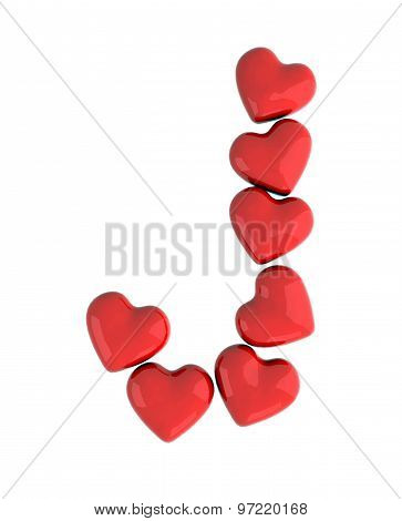 letter J made with hearts