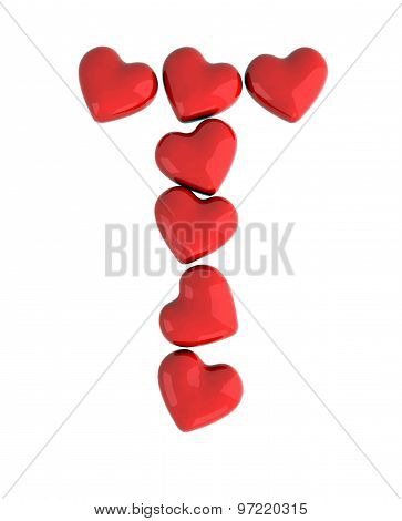 letter T made with hearts