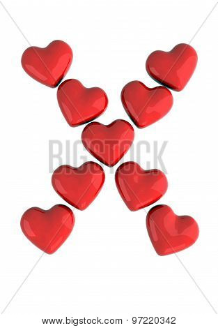 letter X made with hearts