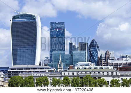 Cityscape of London banking and insurance district