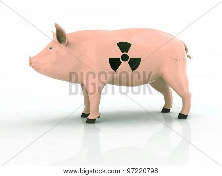 Pig With Radioactive Symbol On The Skin