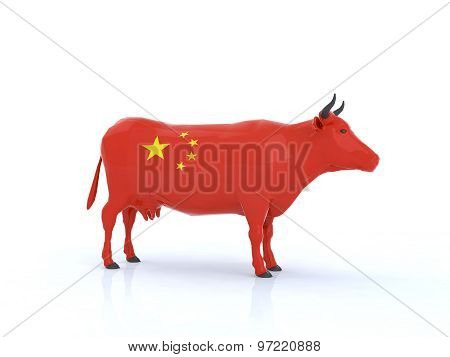 China Cow 3D Illustration
