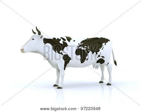 Cow With Black Spots Shaped Like A Globe