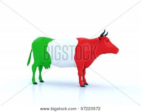 Italian Cow 3D Illustration