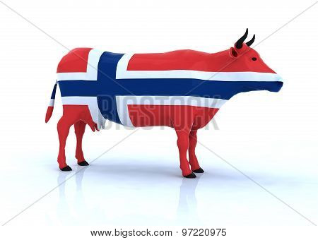 Norwegian Cow With Flag