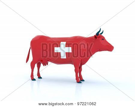 Switzerland Cow 3D Illustration