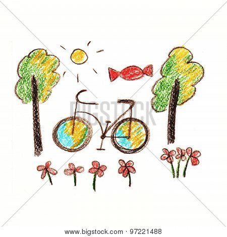 Colorful picture of bicycle