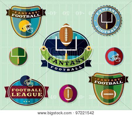 American Fantasy Football Emblems Set Illustration