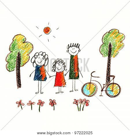 Colorful picture of bicycle and happy family