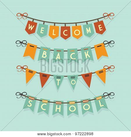 Welcome Back To School buntings and garlands decoration set