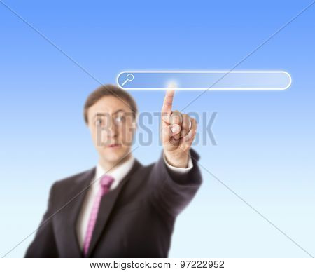 Businessman Touching Blank Search Bar