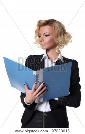sexy business woman with a book isolated on white background