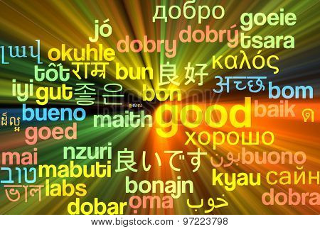 Background concept wordcloud multilanguage international many language illustration of good glowing light