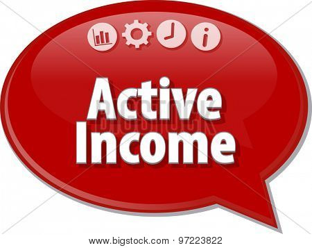 Speech bubble dialog illustration of business term saying Active income