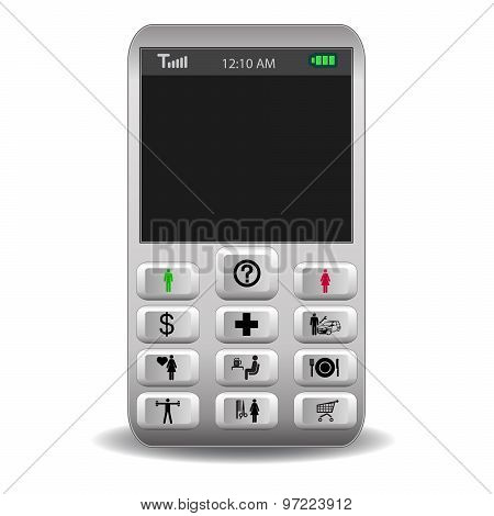 Mobile Phone With Icons On The Buttons Call