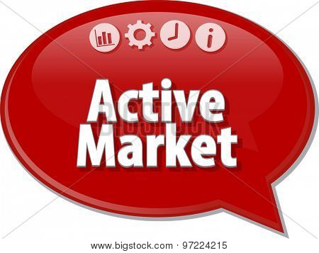 peech bubble dialog illustration of business term saying Active market