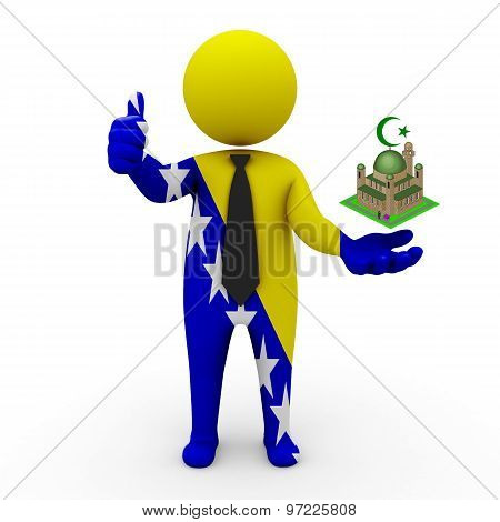 3d businessman people Bosnia and Herzegovina- Muslim mosque and Islam in Bosnia and Herzegovina