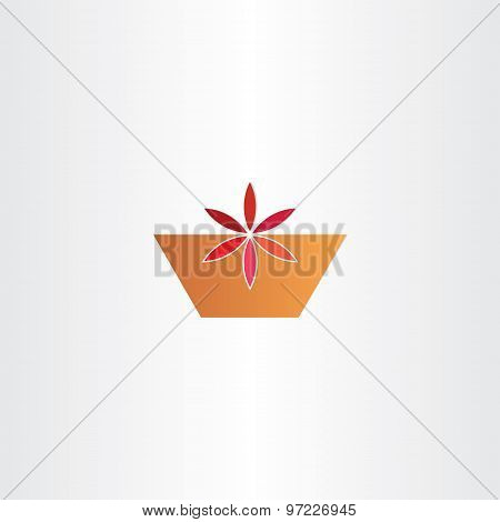 Red Flower In Pot Abstract Vector Icon