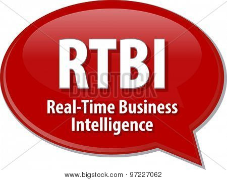 Speech bubble illustration of information technology acronym abbreviation term definition Real Time Business Intelligence