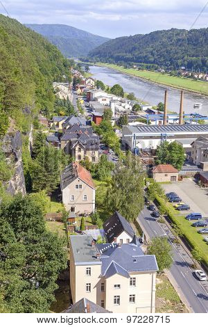 Aerial View Of Bad Schandau, Germany.