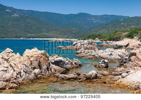 Corsica Island, Wild Coastal Landscape With Stones