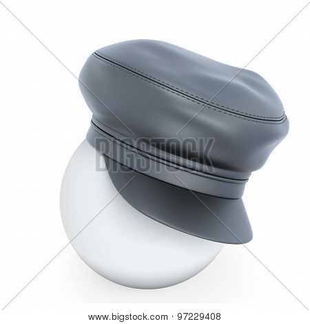 Leather Cap Worn On The White Ball