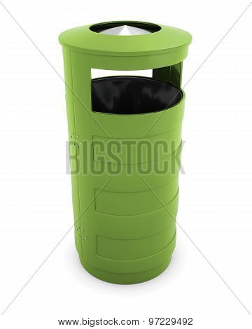 Green Garbage Can For The Street On A White Background