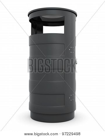 Street Trash Can On A White Background