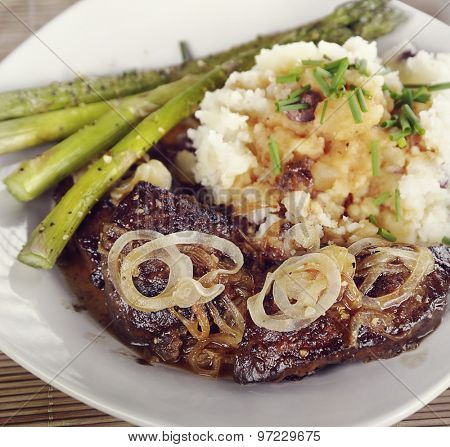 Liver With Onions,Mashed Potatoes and Asparagus