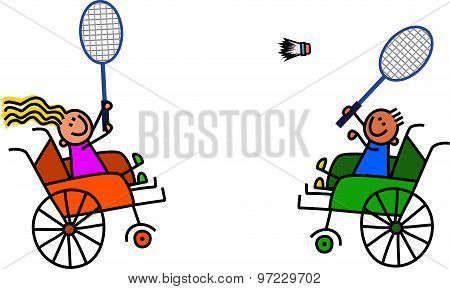 Disabled Kids Play Badminton