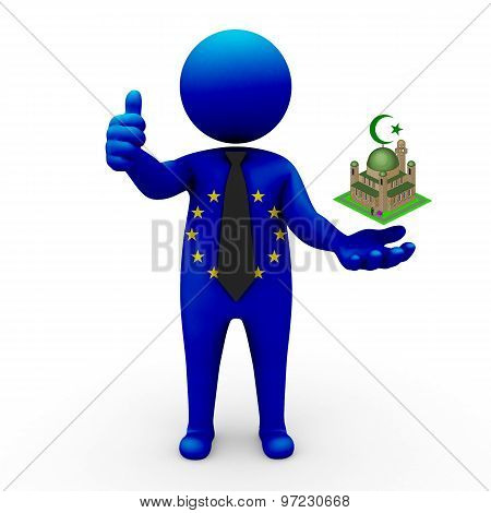 3d businessman people European Union- Muslim mosque and Islam in European Union