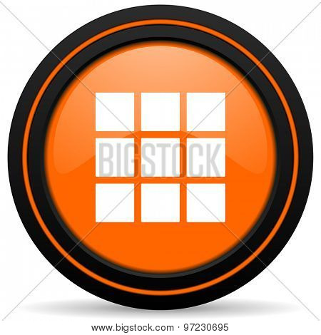 thumbnails grid orange icon gallery sign