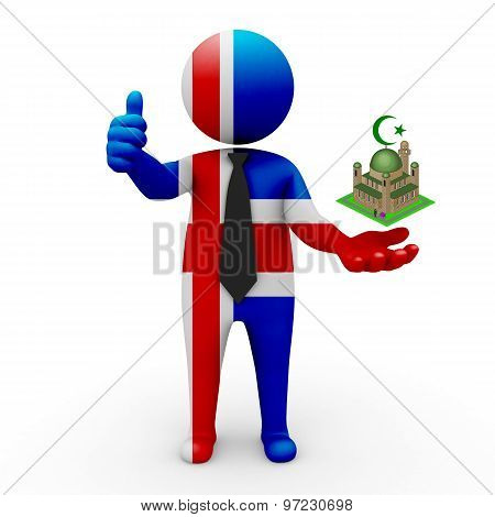 3d businessman people Iceland - Muslim mosque and Islam in Iceland