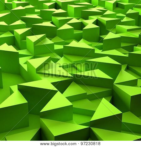 background of 3d green triangle blocks